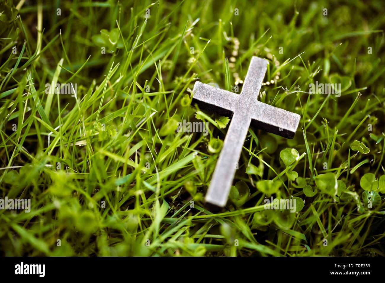 Kreuz liegt im Gras, Deutschland | cross lying in grass, Germany | BLWS515945.jpg [ (c) blickwinkel/McPHOTO/C. Ohde Tel. +49 (0)2302-2793220, E-mail: - Stock Image