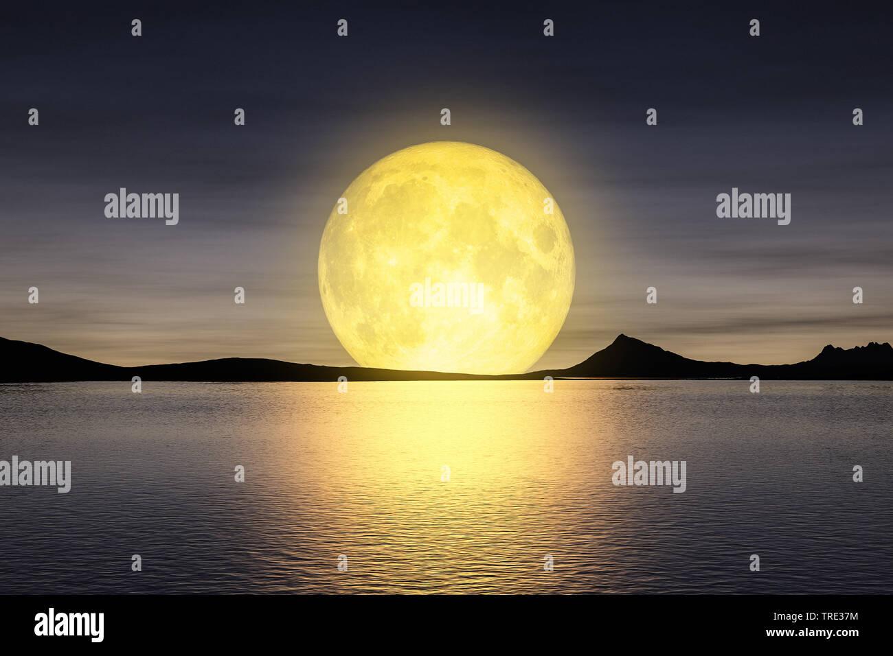 Monaufgang ueber dem Meer, Computergraphik   3d rendering of a moon rising over the sey   BLWS516017.jpg [ (c) blickwinkel/McPHOTO/M. Gann Tel. +49 (0 - Stock Image