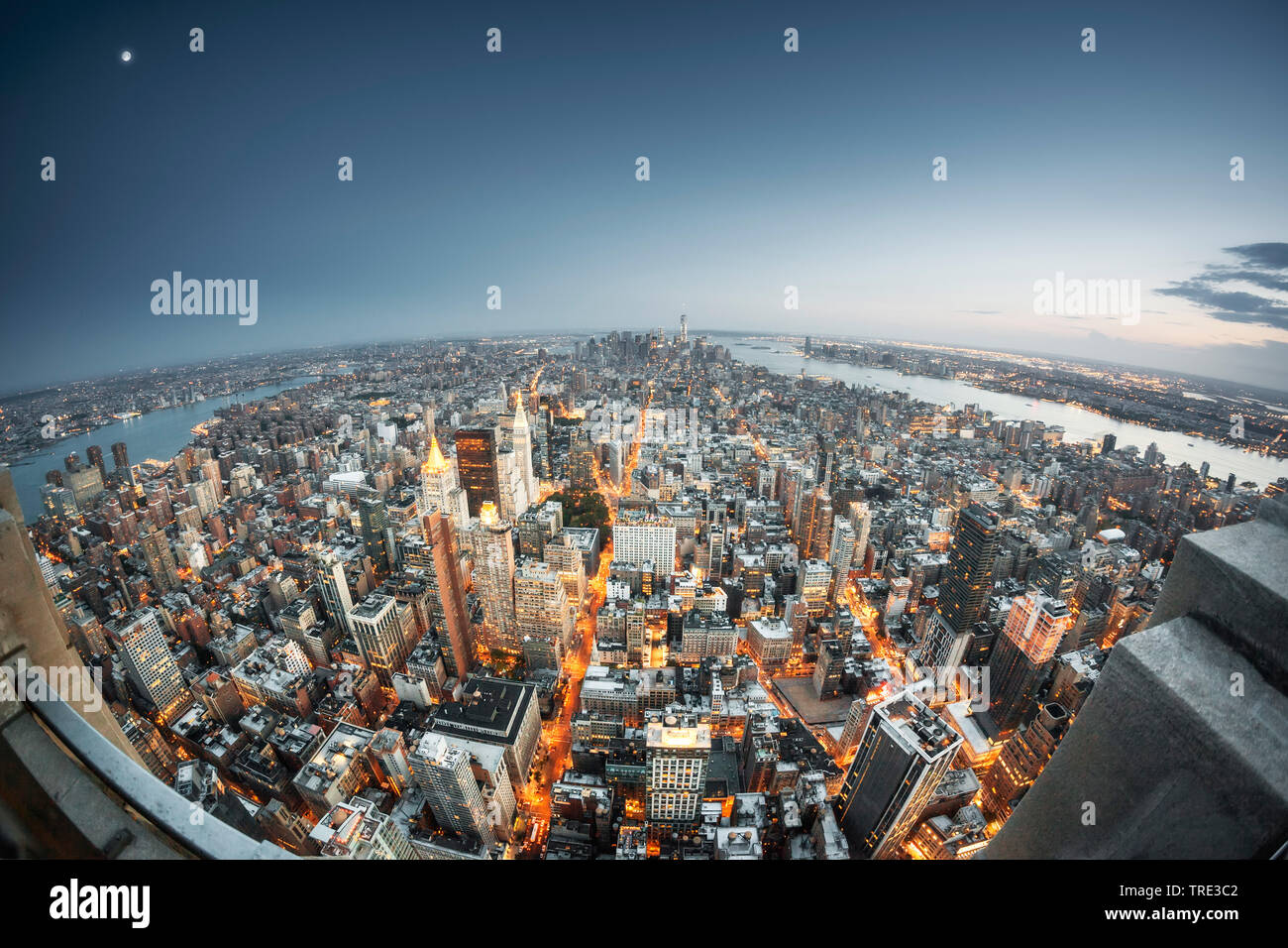 Wolkenkratzer New Yorks, fotografiert mit Fischaugen-Objektiv, USA, New York City   skyscaper of New York, siheye view, USA, New York City   BLWS51623 - Stock Image