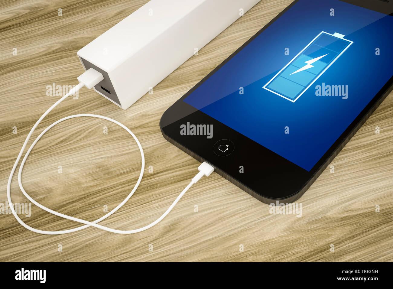 Mobiltelefon wird mit einer Powerbank aufgeladen, mit Statusanzeige auf dem Bildschirm | Mobile phone charged by a power bank including battery status - Stock Image