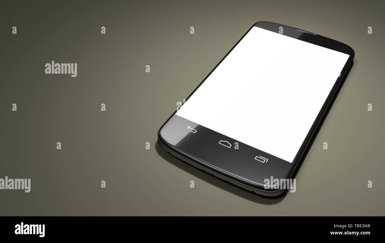 Mobile phone with white touch screen against grey blackground Stock Photo
