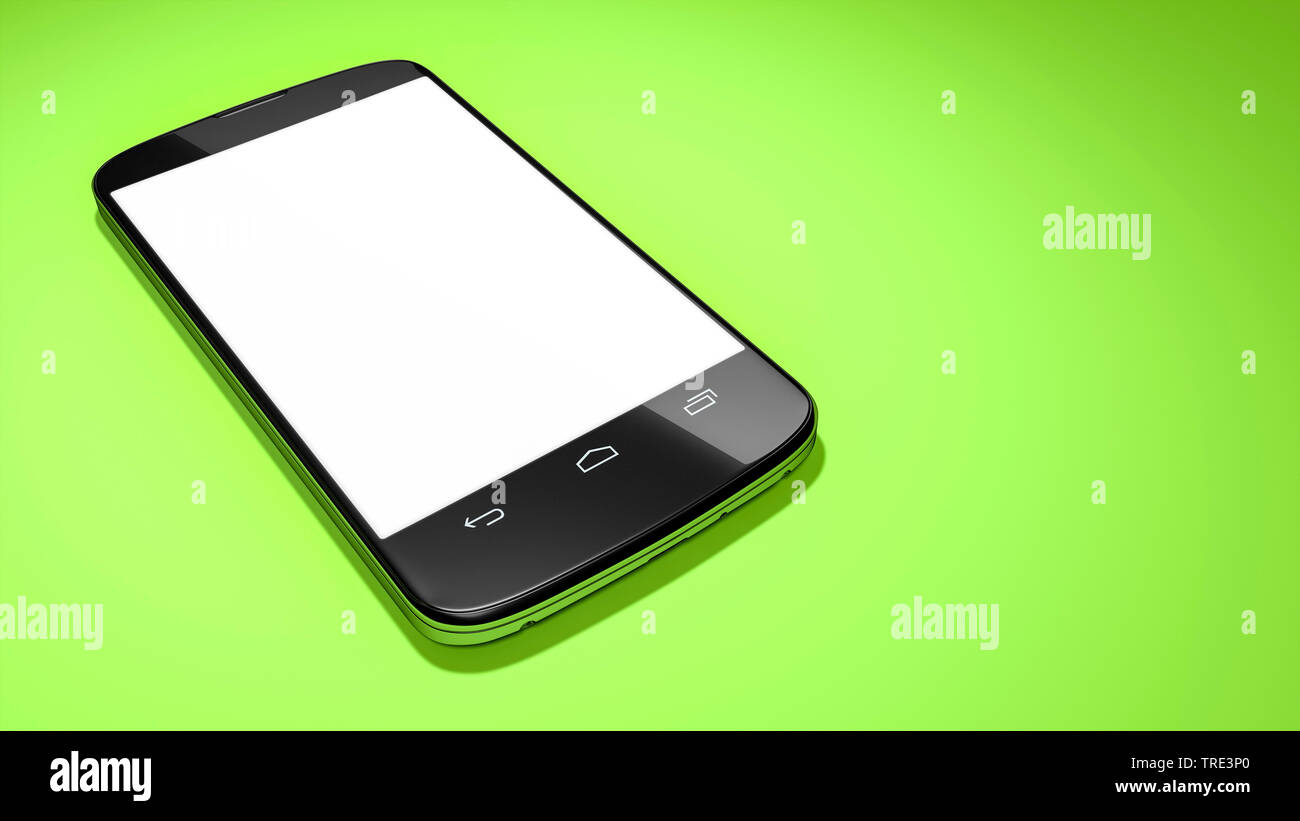 Mobile phone with white touch screen against green blackground Stock Photo