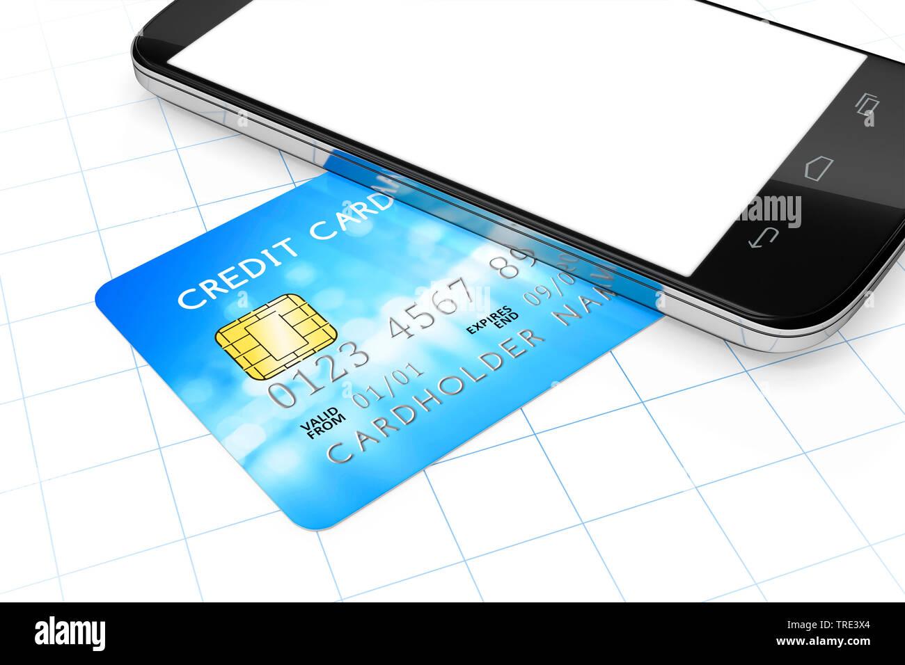 3D-Computergrafik, Mobiltelefon auf einer Kreditkarte liegend (Mobile Payment) | 3D computer graphic, mobile phone lying on a credit card (mobile paym - Stock Image