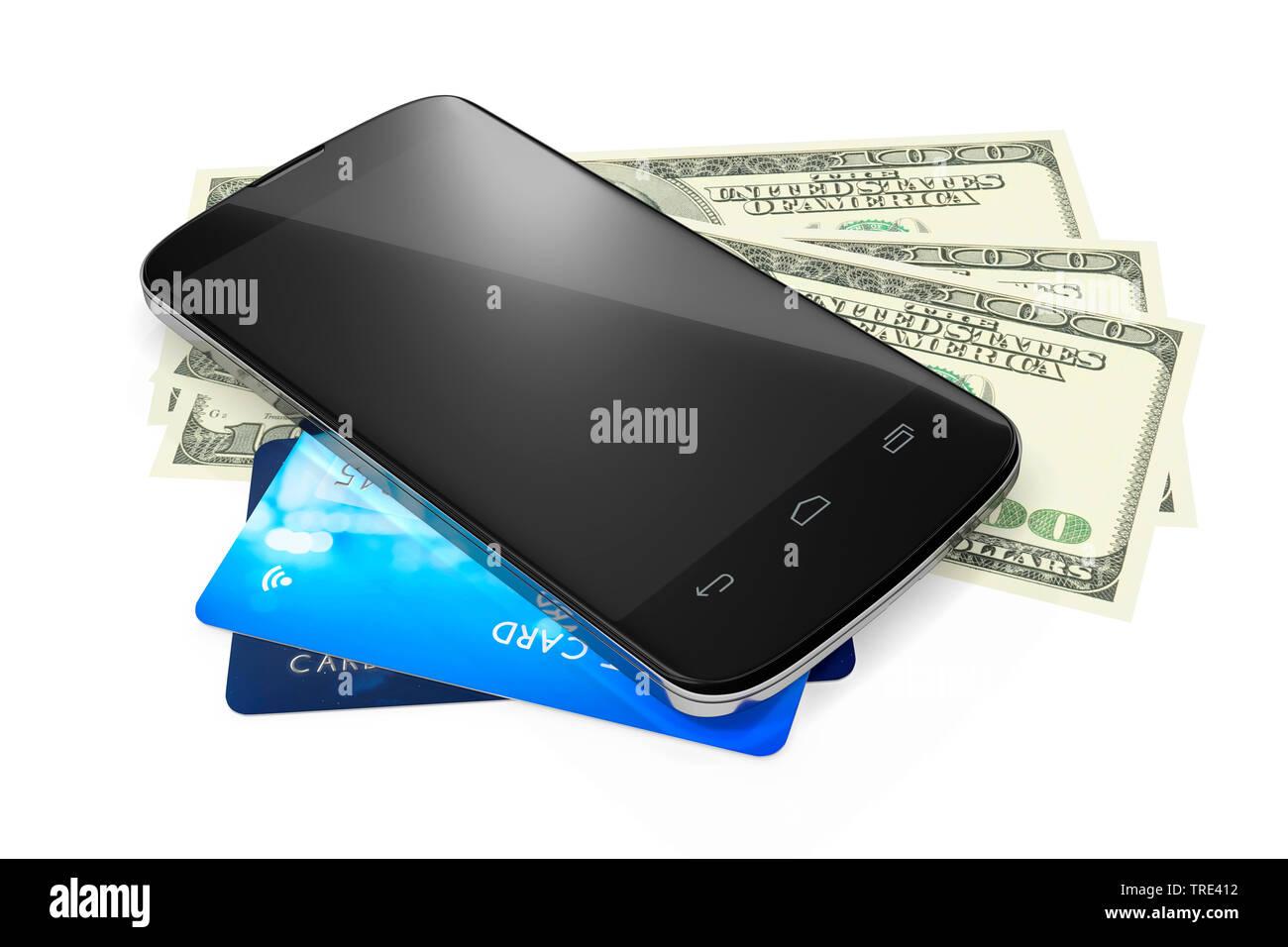 Mobiltelefon auf Kreditkarten und Bargeld liegend (Mobile Payment)   | Mobile phone lying on credit cards and cash money (mobile payment) | BLWS516675 - Stock Image