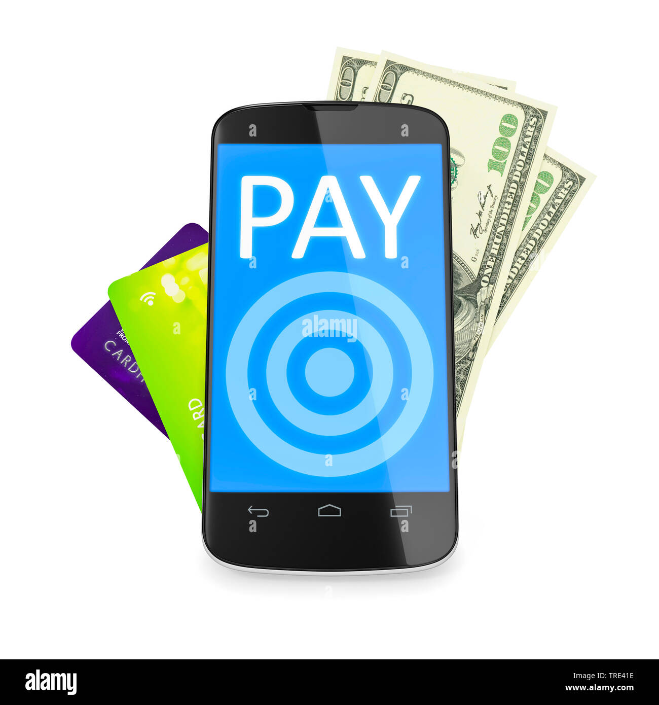 Mobiltelefon mit Kreditkarten und Bargeld im Hintergrund (Mobile Payment)   | Mobile phone with credit cards and cash money in the background (mobile - Stock Image