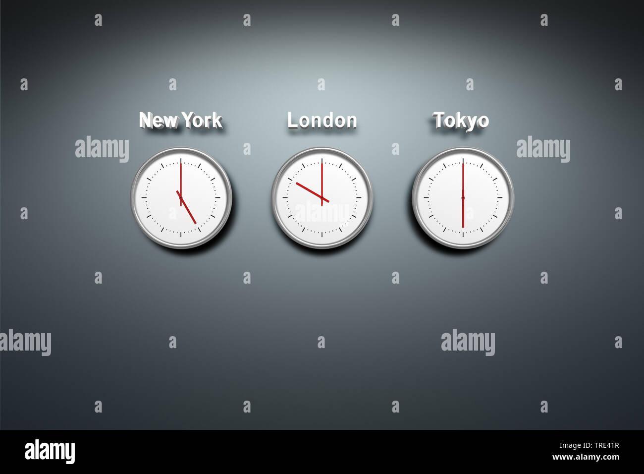 New York - London - Tokyo - drei Uhren mit verschiedenen Uhrzeiten | three clocks showing the time o New York, London and Tokyo | BLWS516694.jpg [ (c) - Stock Image