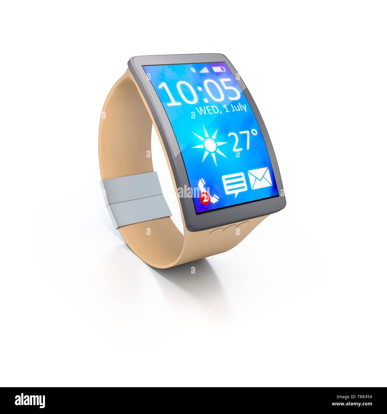 Smartwatch mit aktivem Bildschirm vor weissem Hintergrund | Smartwatch with activated screen against white background | BLWS516788.jpg [ (c) blickwink - Stock Image