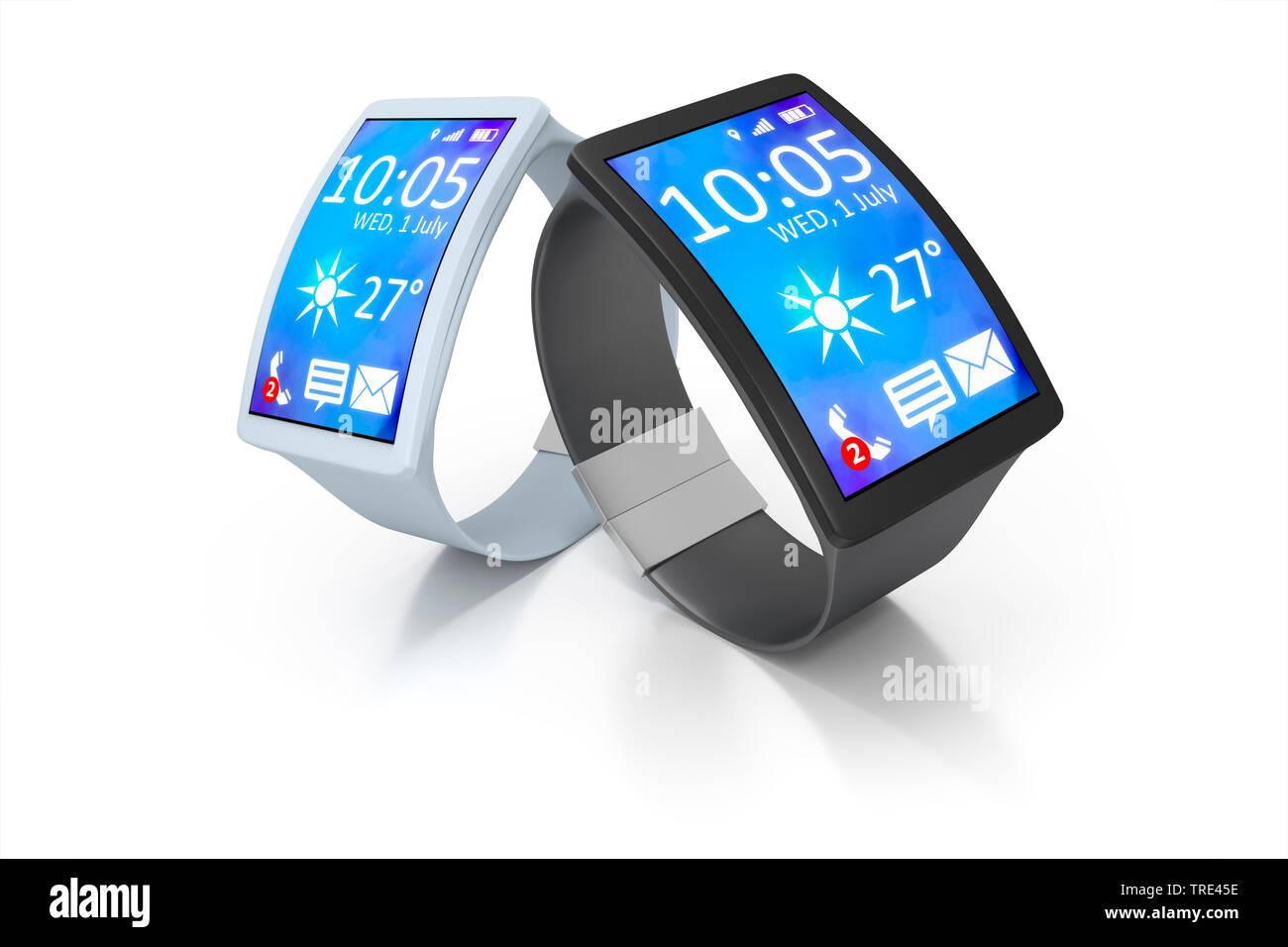 Zwei Smartwatches mit aktivem Bildschirm vor weissem Hintergrund | Two Smartwatches with activated screen against white background | BLWS516798.jpg [ - Stock Image