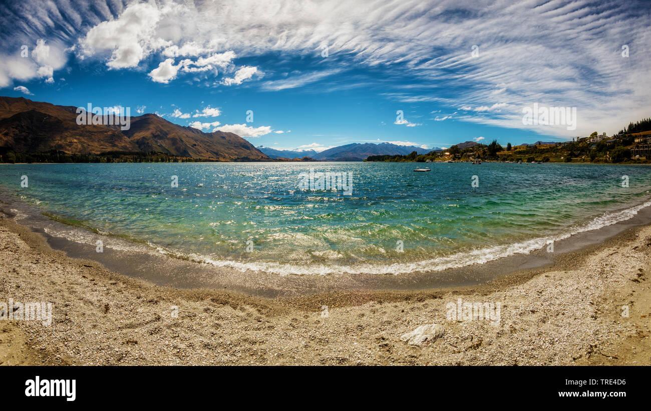 Panoramic view over Lake Wanaka, New Zealand, Otago Stock Photo