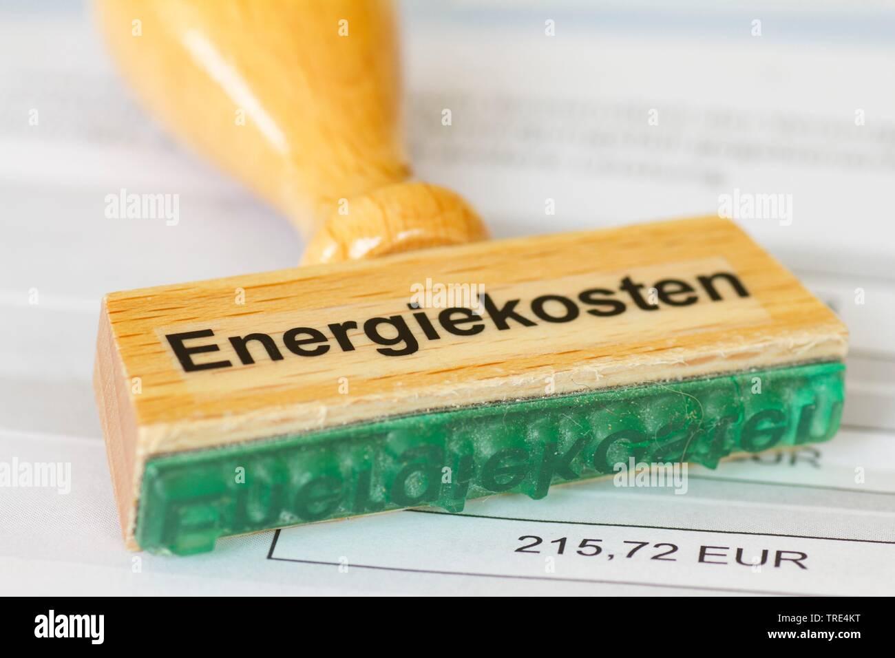 Stempel mit der Aufschrift Energiekosten, Deutschland | stamp lettering energy costs, Germany | BLWS517191.jpg [ (c) blickwinkel/McPHOTO/A. Pulwey Tel - Stock Image
