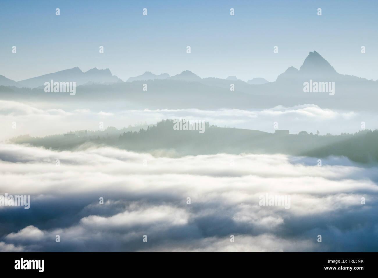 Aussicht auf Saentis vom Ratenpass, Schweiz | View onto the Saentis from Ratenpass, Switzerland | BLWS517957.jpg [ (c) blickwinkel/P. Frischknecht Tel - Stock Image