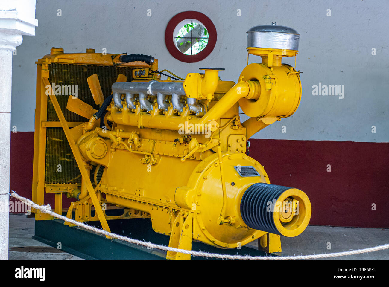 Old industrial engine, used to power factories, taken from Tecoh, in the Yucatan peninsula - Stock Image
