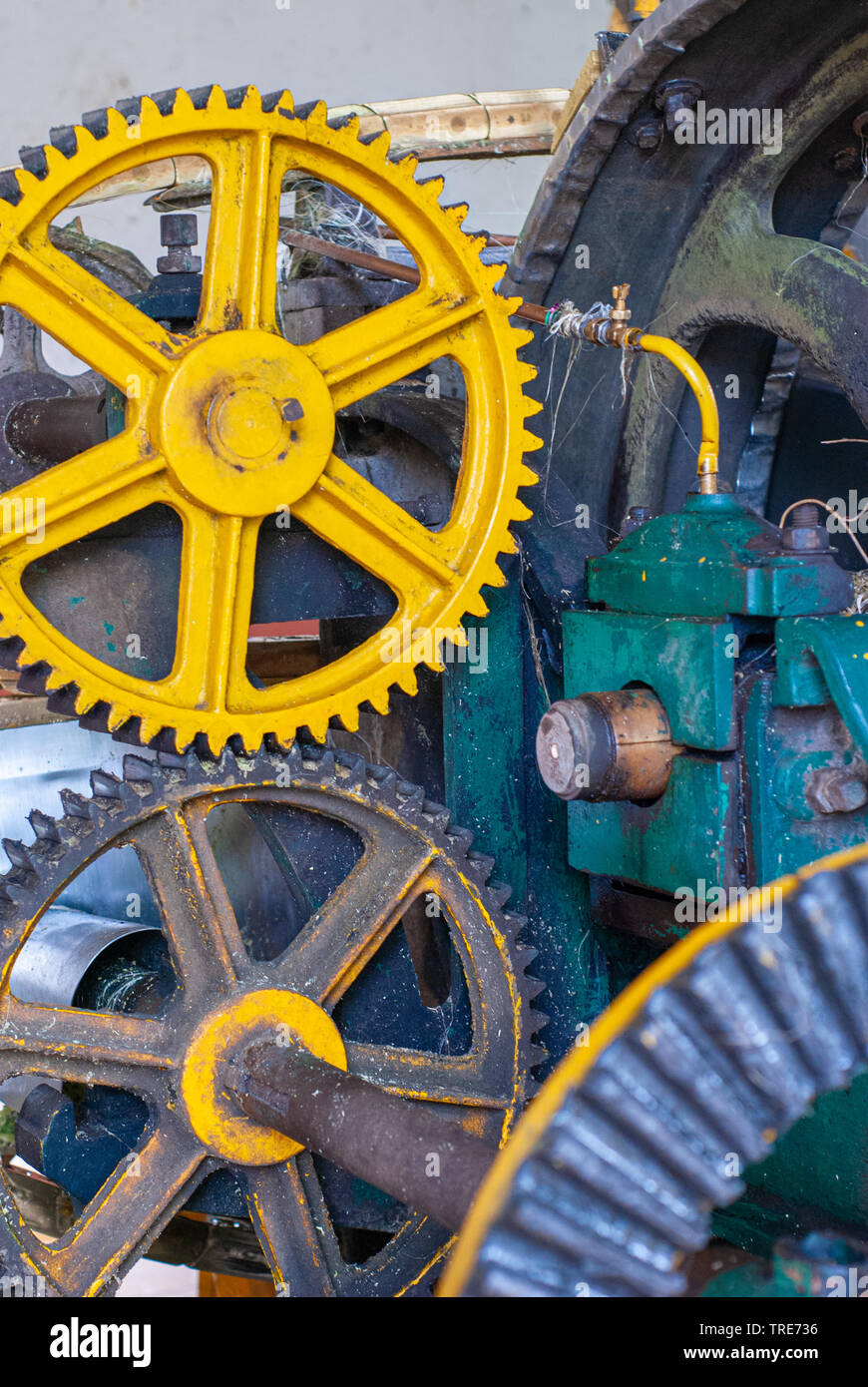 Gears of mechanical parts of transmission of motion, taken at the factory at Tecoh, in the Yucatan peninsula - Stock Image