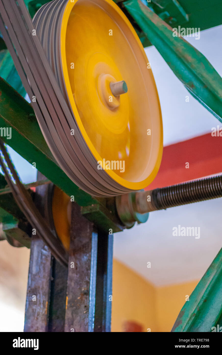 Gears and mechanical belts, taken at the factory in Tecoh, in the Yucatan peninsula - Stock Image