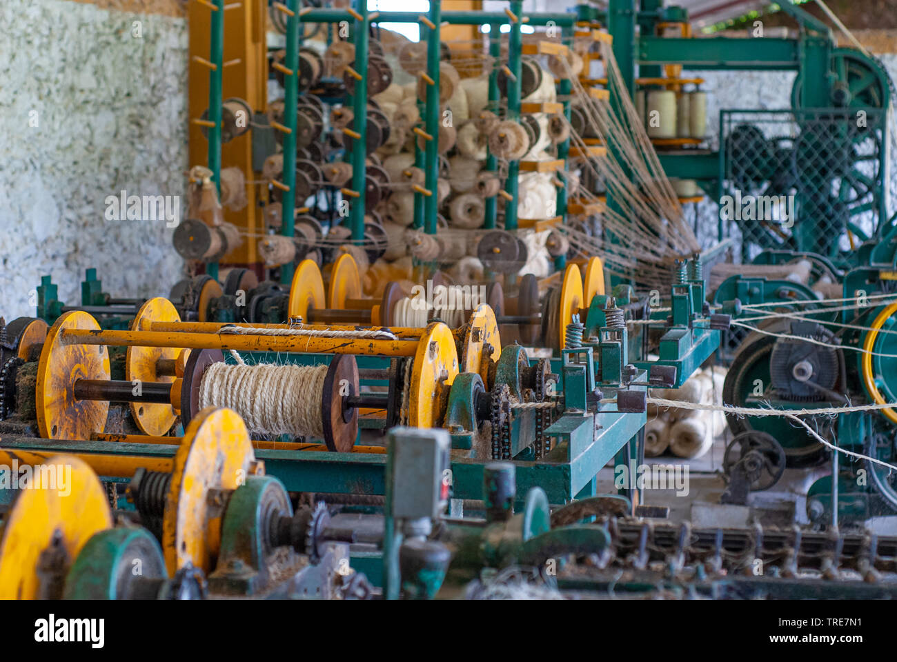 Balls of Agave plant fibers, taken at the factory in Tecoh, Yucatan - Stock Image