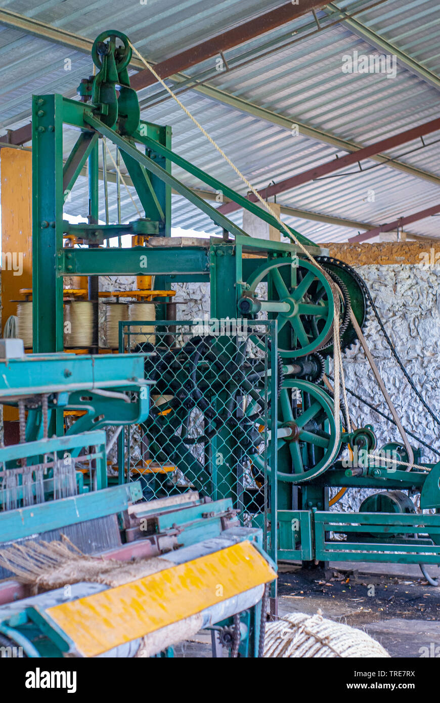 Agave fiber spinning machines, taken at the factory in Tecoh, Yucatan - Stock Image