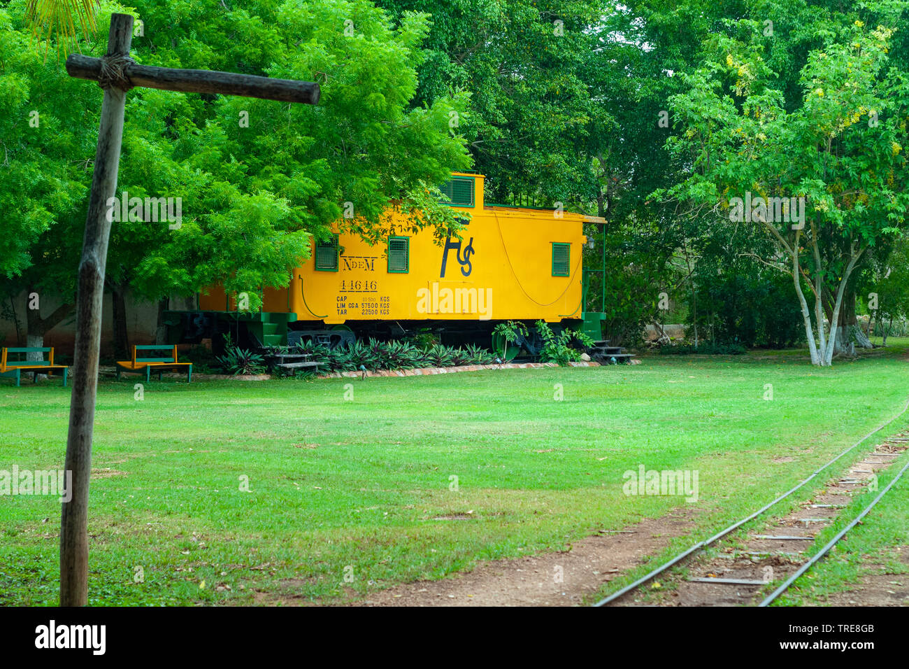 Old train for the transport of Agave leaves, taken in the Tecoh plantations, in the Yucatan peninsula - Stock Image