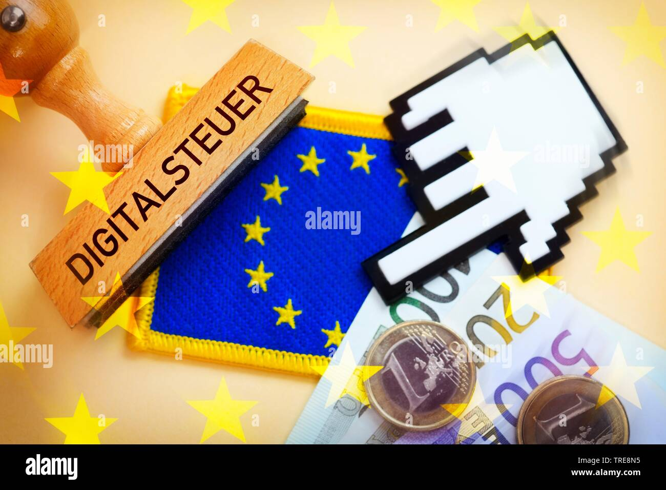 EU flag with stamp an cursor, digital tax, Germany Stock Photo