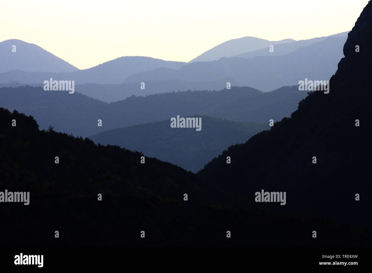 Alpen in der Abenddaemmerung, Frankreich, Remuzat   Alps at dusk, France, Remuzat   BLWS520265.jpg [ (c) blickwinkel/AGAMI/J. van der Neut Tel. +49 (0 - Stock Image