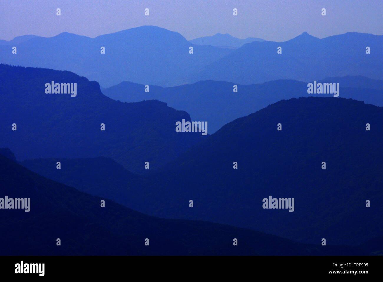 Alpen in der Abenddaemmerung, Frankreich, Vercors Nationalpark   Alps at dusk, France, Vercors National Park, Remuzat   BLWS520292.jpg [ (c) blickwink - Stock Image