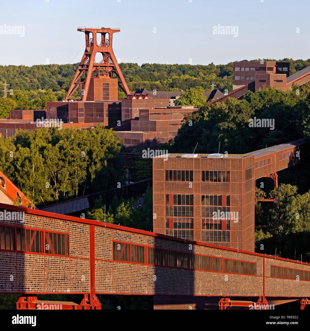 Zeche Zollverein mit dem Foerdergeruest Schacht XII, Deutschland, Nordrhein-Westfalen, Ruhrgebiet, Essen | Zollverein Coal Mine Industrial Complex wit - Stock Image