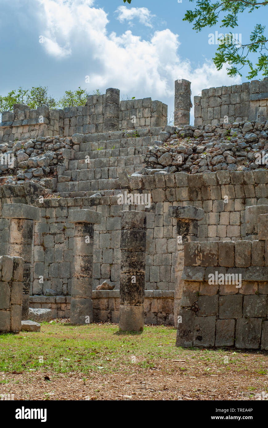 Remains of Maya buildings, in the archaeological area of Chichen Itza, on the Yucatan peninsula - Stock Image