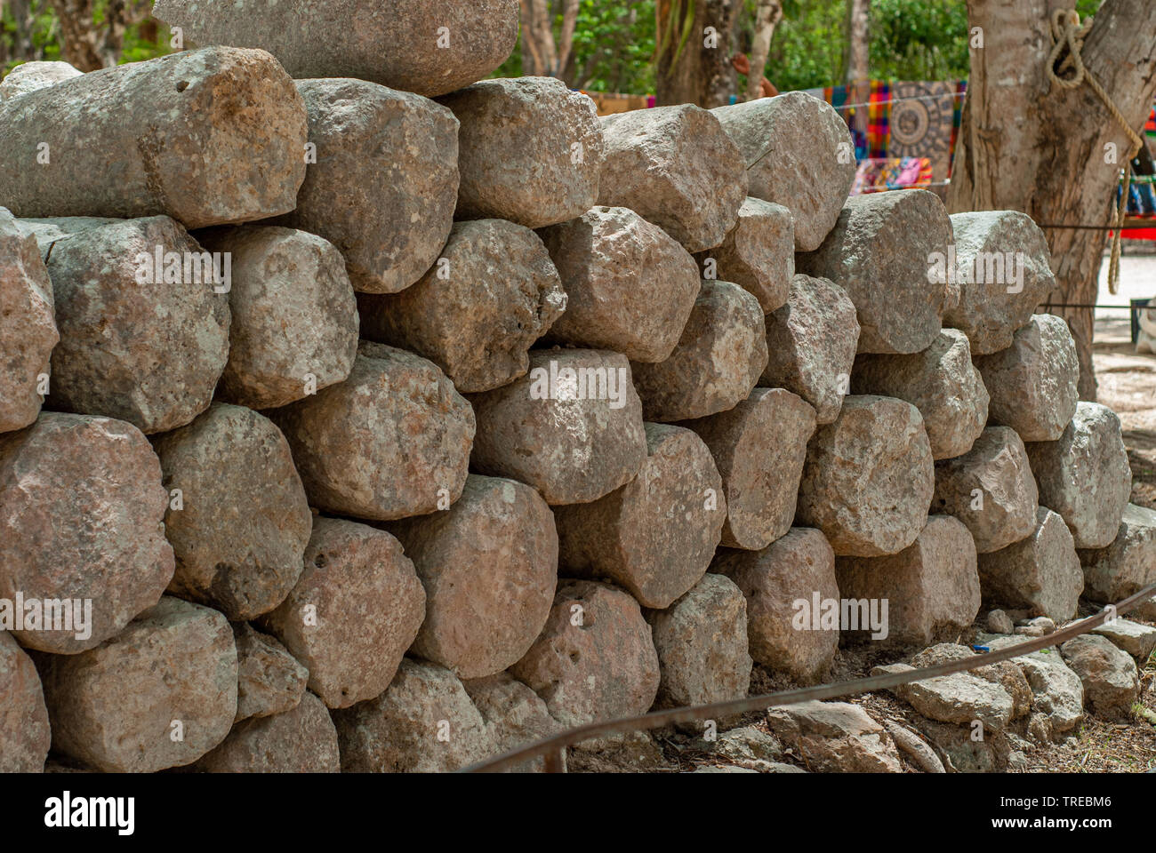 Ruins of columns found in the archaeological area of Chichen Itza, on the Yucatan peninsula - Stock Image