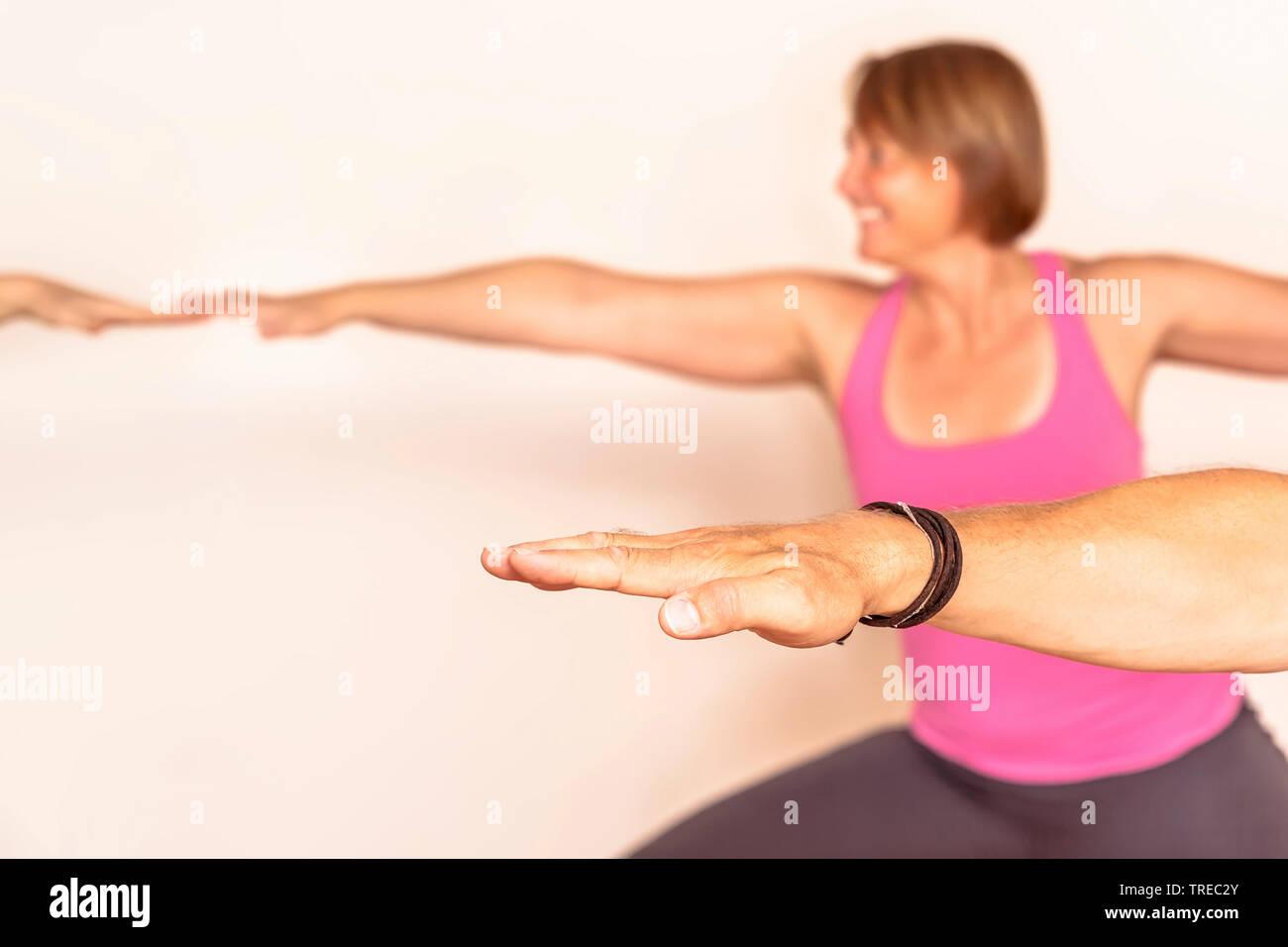 Frau und Mann machen Yoga-Uebungen, Europa | woman and man doing yoga, Europe | BLWS522579.jpg [ (c) blickwinkel/McPHOTO/M. Gann Tel. +49 (0)2302-2793 - Stock Image