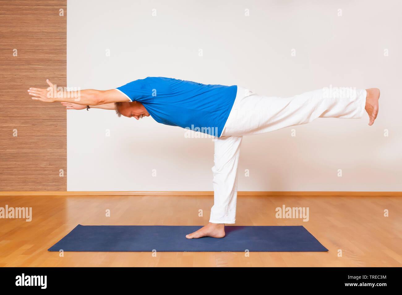 Mann machen Yoga-Uebung, Krieger III, Europa | man doing yoga, warrior, Europe | BLWS522599.jpg [ (c) blickwinkel/McPHOTO/M. Gann Tel. +49 (0)2302-279 - Stock Image