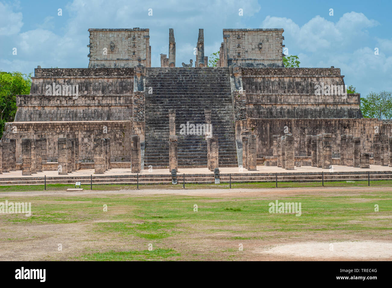 Ruins of an ancient Mayan temple, taken in the archaeological area of Chichen Itza, on the Yucatan peninsula - Stock Image