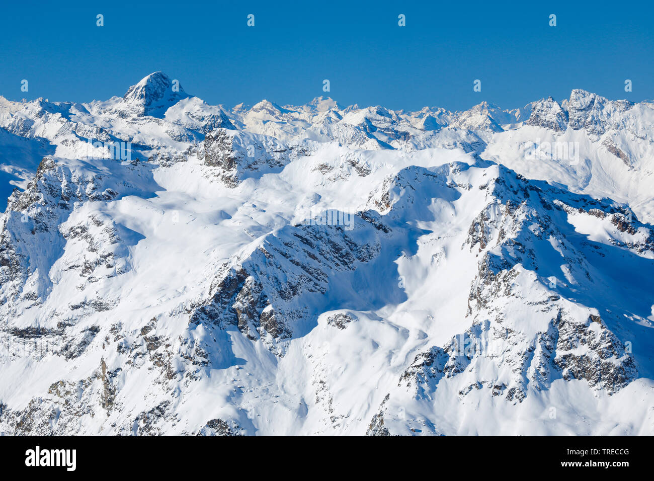 Piz Platta - 3392 m, view from Piz Corvatsch, Switzerland, Grisons, Oberengadin Stock Photo