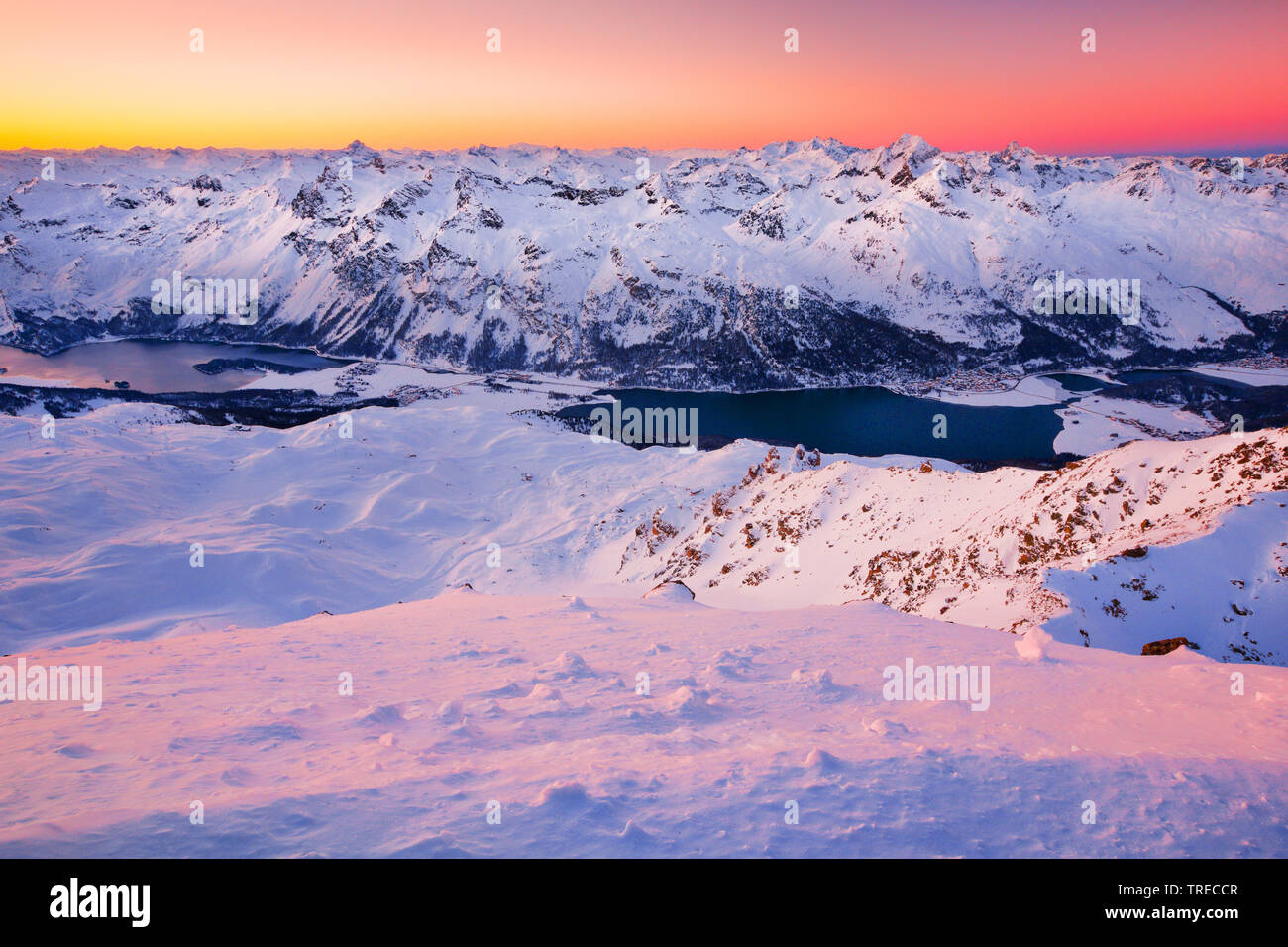 view from Piz Corvatsch - 3451m, Switzerland, Grisons, Oberengadin Stock Photo