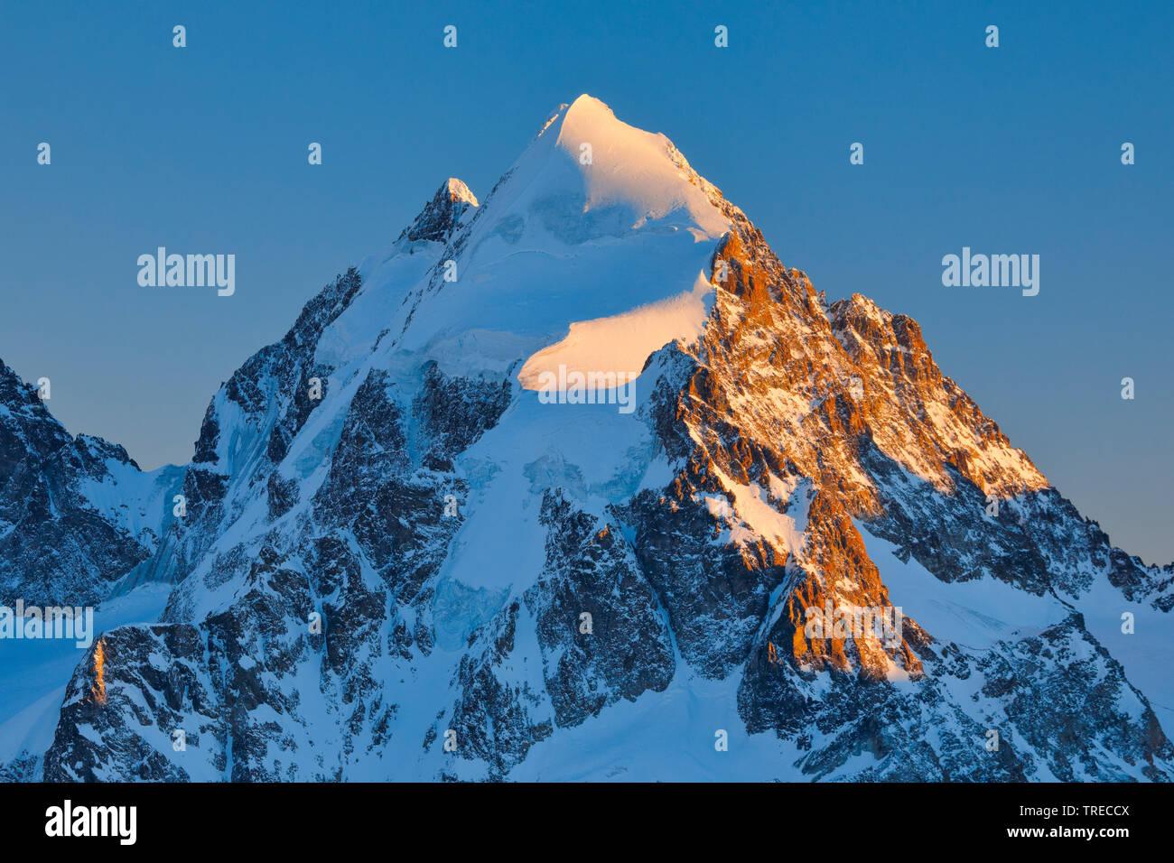 Piz Roseg-3937 m, Switzerland, Grisons, Oberengadin Stock Photo