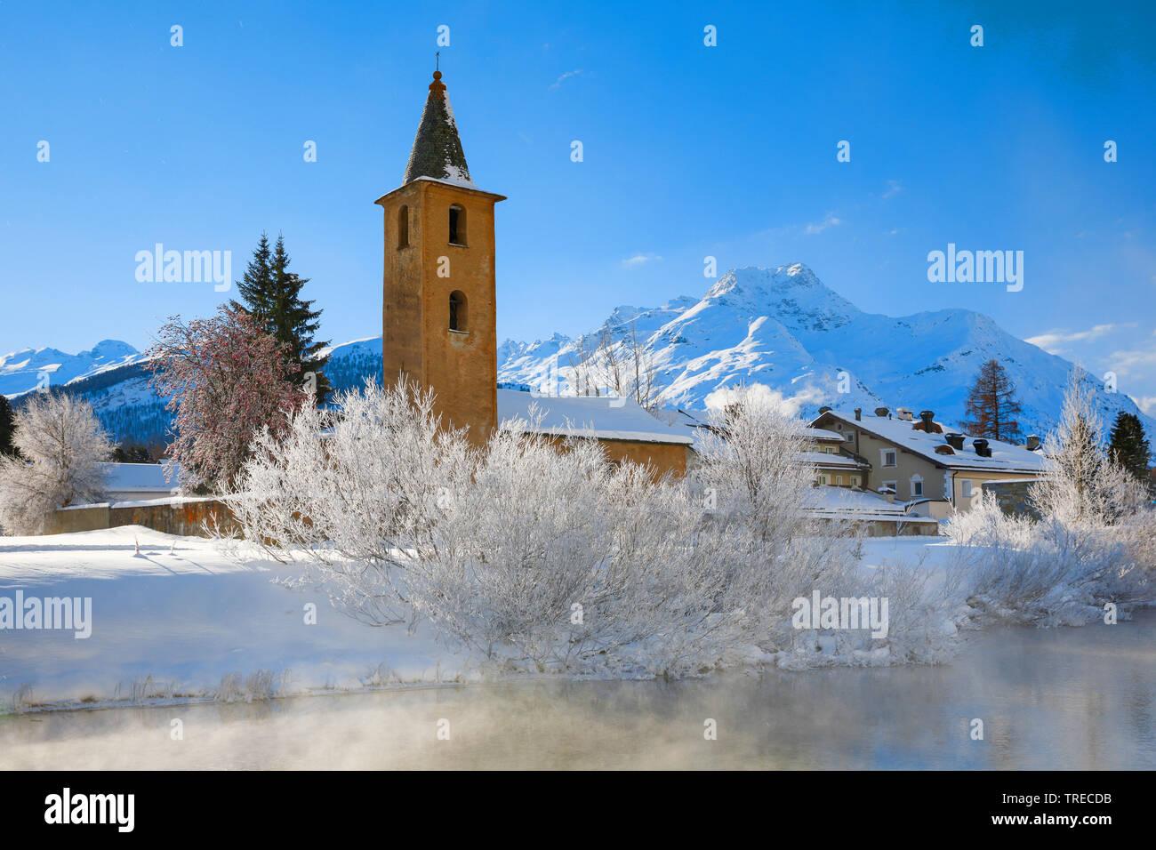 St. Lorenz Church in Sils, Switzerland, Grisons, Oberengadin Stock Photo