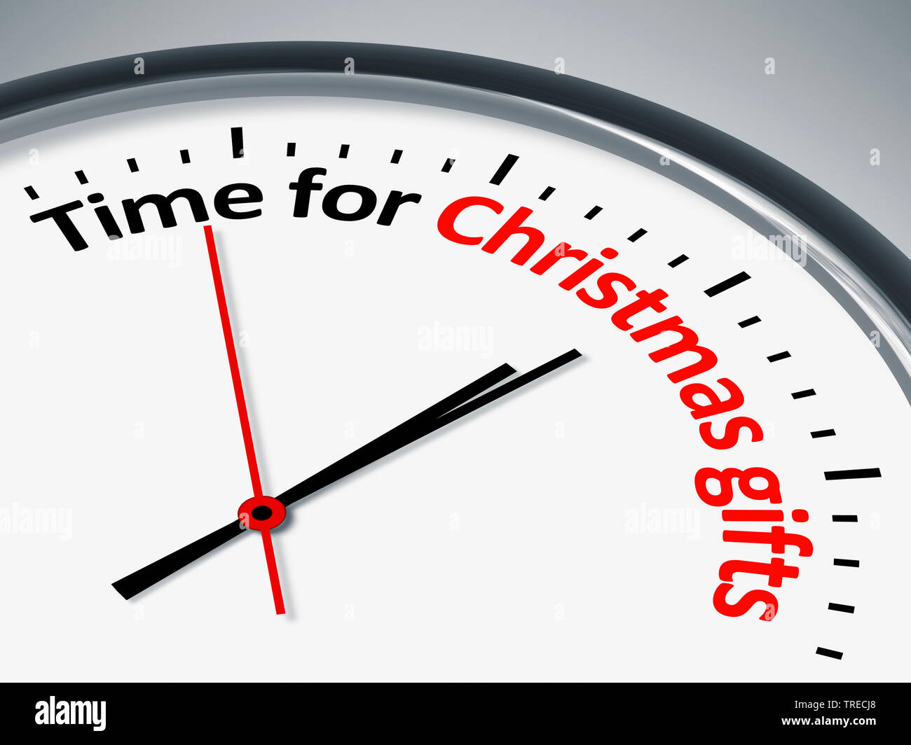 3D-Computergrafik, Uhr mit Aufschrift TIME FOR CHRISTMAS GIFTS (Zeit fuer Weihnachtsgeschenke)   3D computer graphic, clock lettering TIME FOR CHRISTM - Stock Image