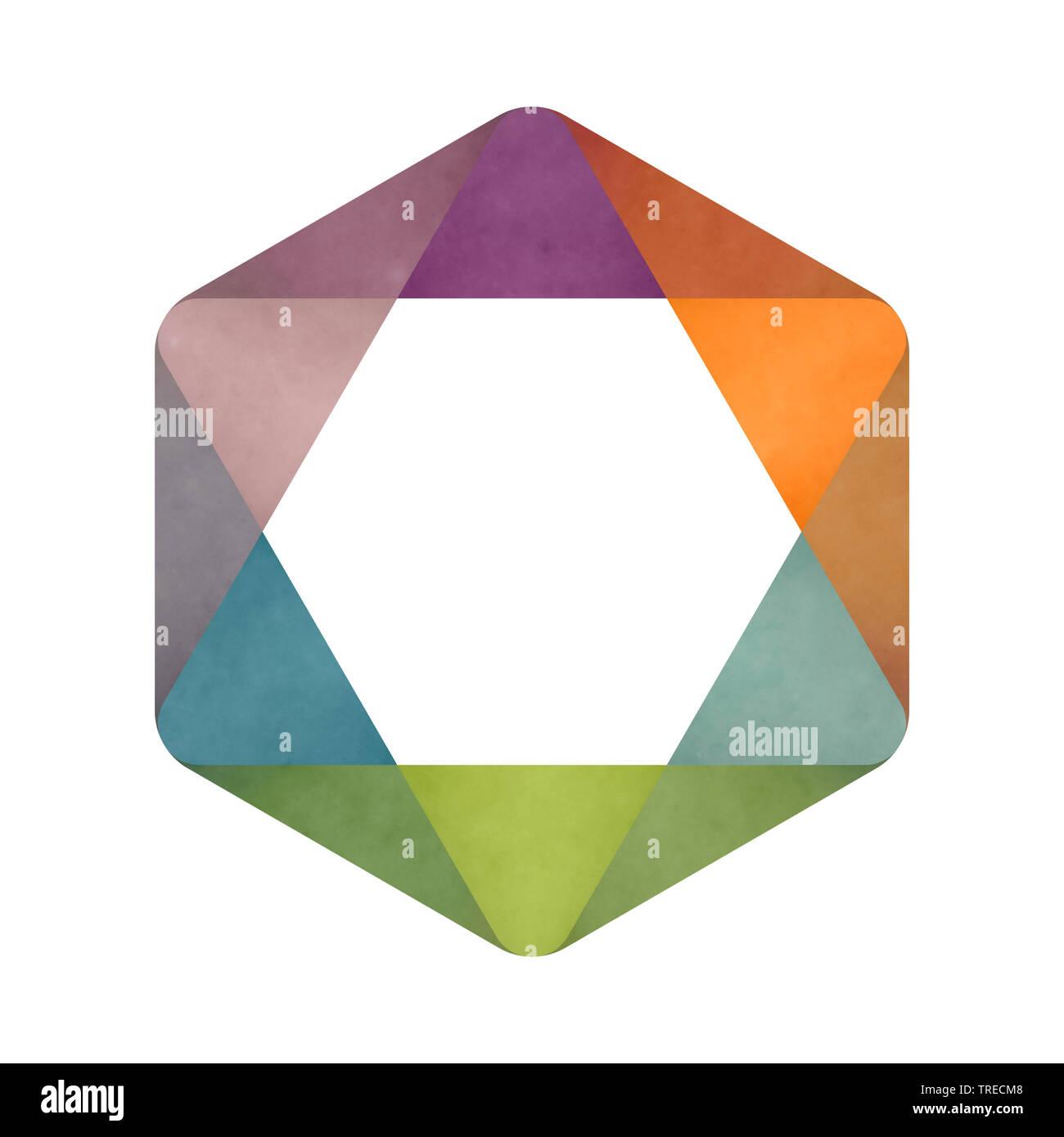 buntes Hexagon, Computergraphik | colourful hexagon, computer graphik | BLWS523058.jpg [ (c) blickwinkel/McPHOTO/M. Gann Tel. +49 (0)2302-2793220, E-m - Stock Image