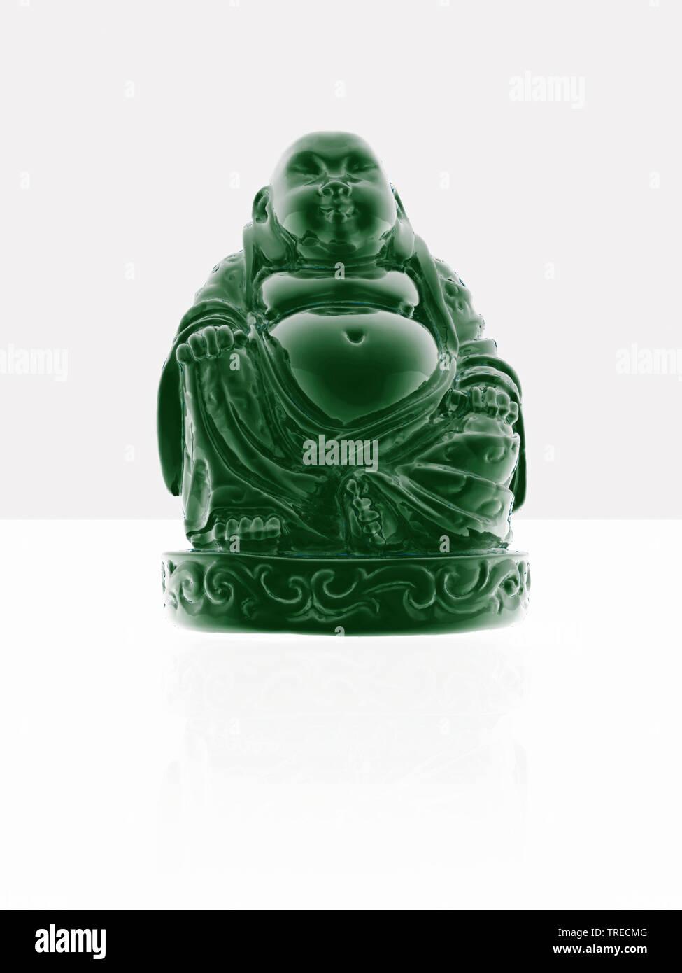 kleiner gruener Buddha aus Porzellan | sculpture green porcelain buddha | BLWS523068.jpg [ (c) blickwinkel/McPHOTO/M. Gann Tel. +49 (0)2302-2793220, E - Stock Image