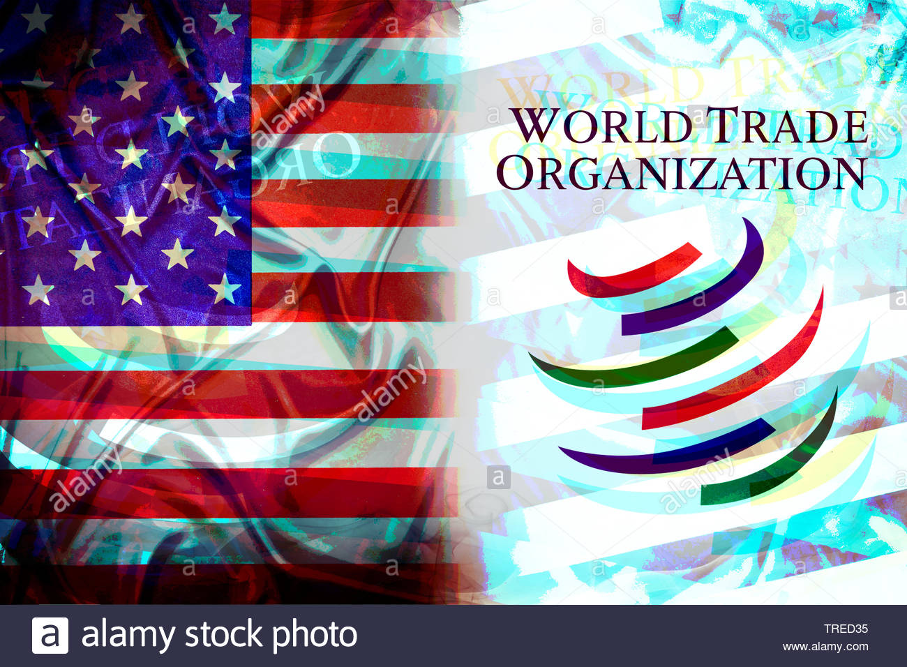 US flag and WTO logo next to each other - trade conflict Stock Photo