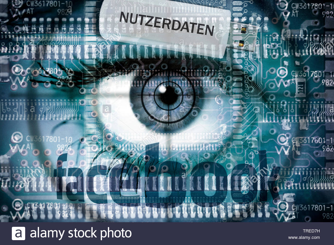 Computer grafic with eyeball, Facebook logo and USB drive - protection of user data Stock Photo
