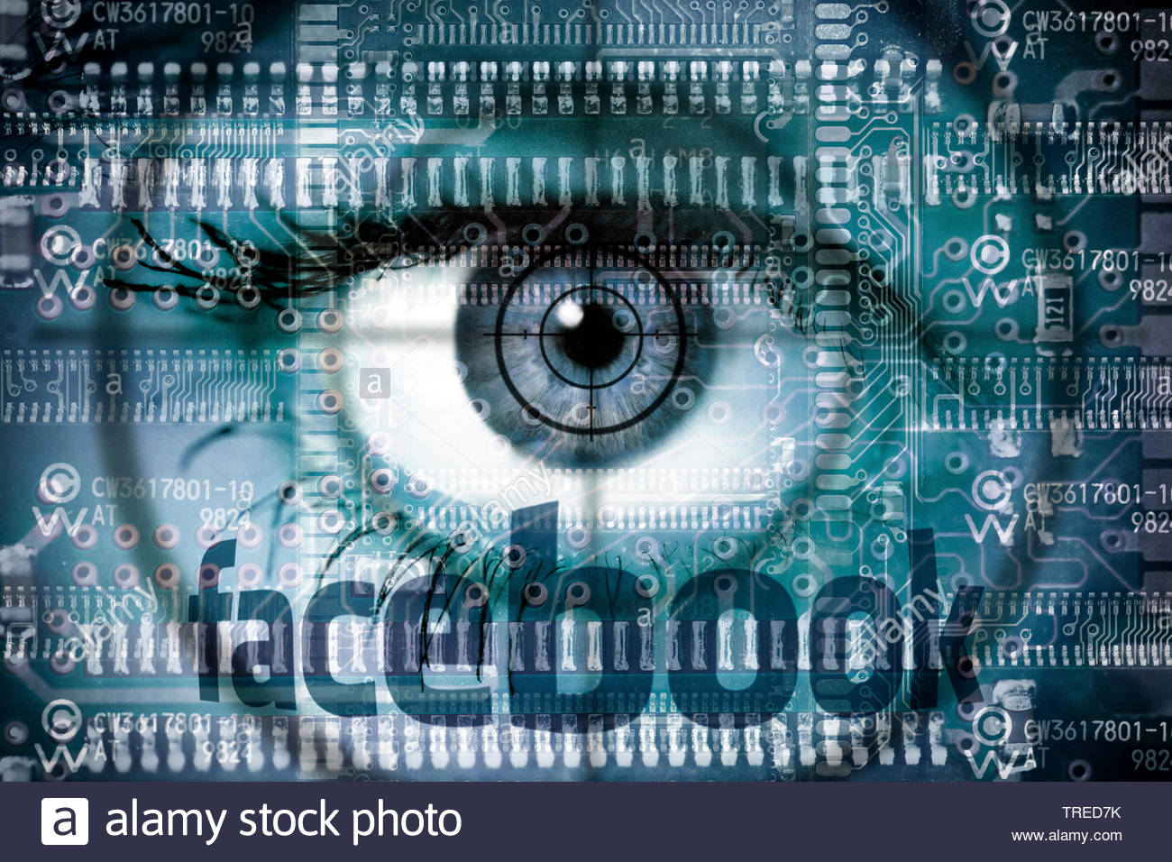 Computer grafic with eyeball and Facebook logo - protection of user data Stock Photo