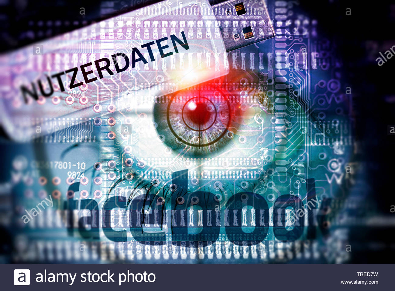 Computer grafic with red eyeball, Facebook logo and USB drive - protection of user data Stock Photo
