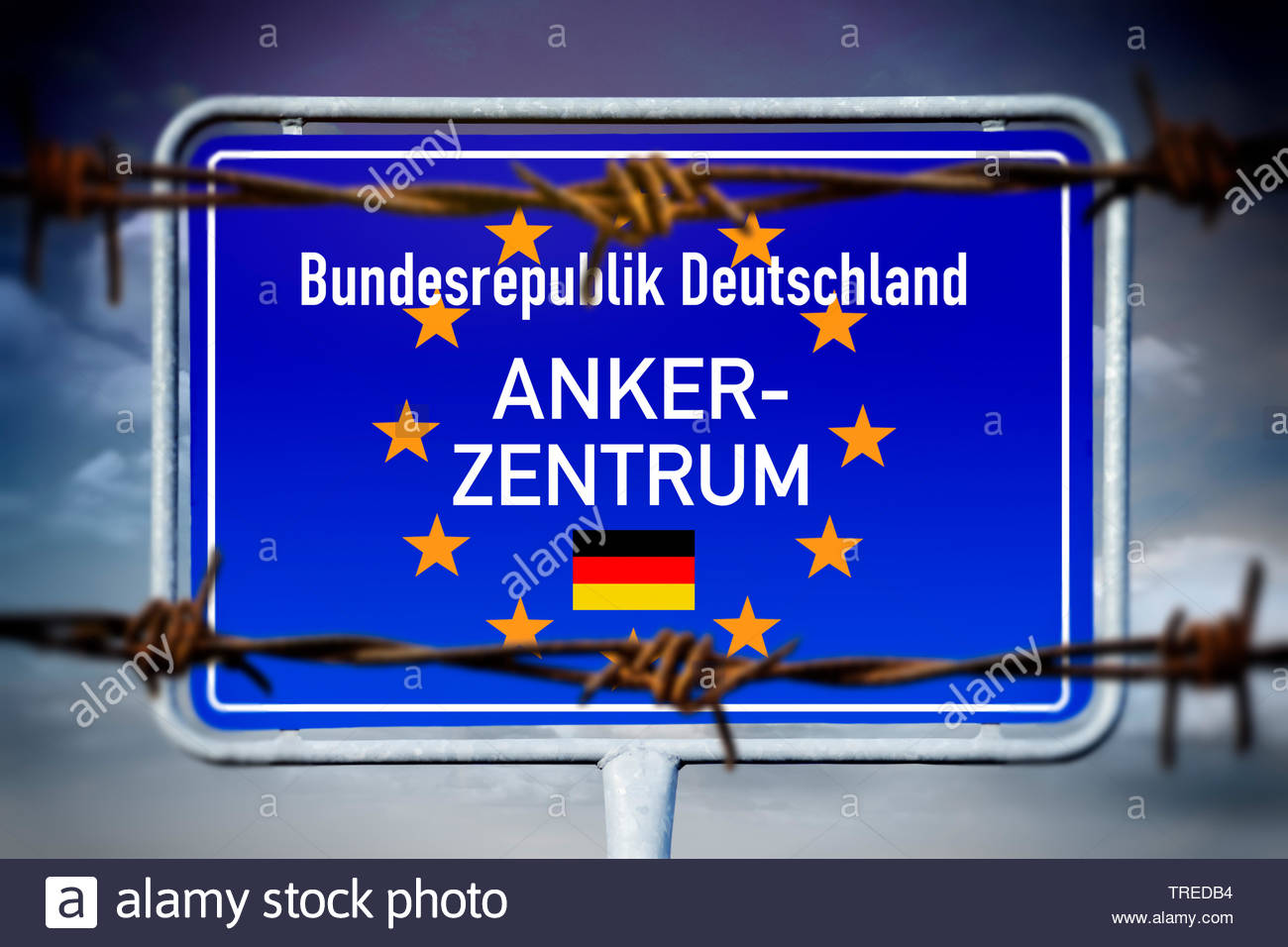 Boader sign of Germany with the stars of the European Union lettering ANKERZENTRUM (refugee centre) Stock Photo