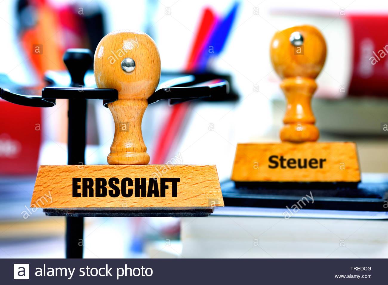 Stempel mit Aufschrift ERBSCHAFT und STEUER, Bundesrepublik Deutschland | Stamps lettering ERBSCHAFT (inheritance) and STEUER (tax), Bundesrepublik De - Stock Image