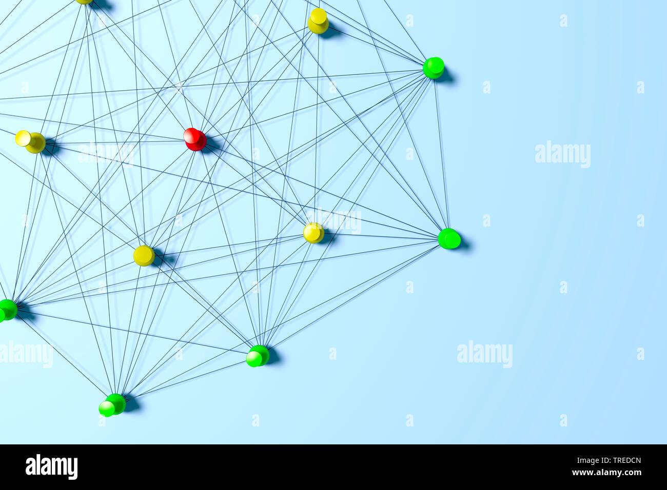 Nadeln mit schwarzem Faden verbunden, ein Netzwerk symbolisierend   Pins connected with black twines, symbolizing a network structure    BLWS523591.jp - Stock Image