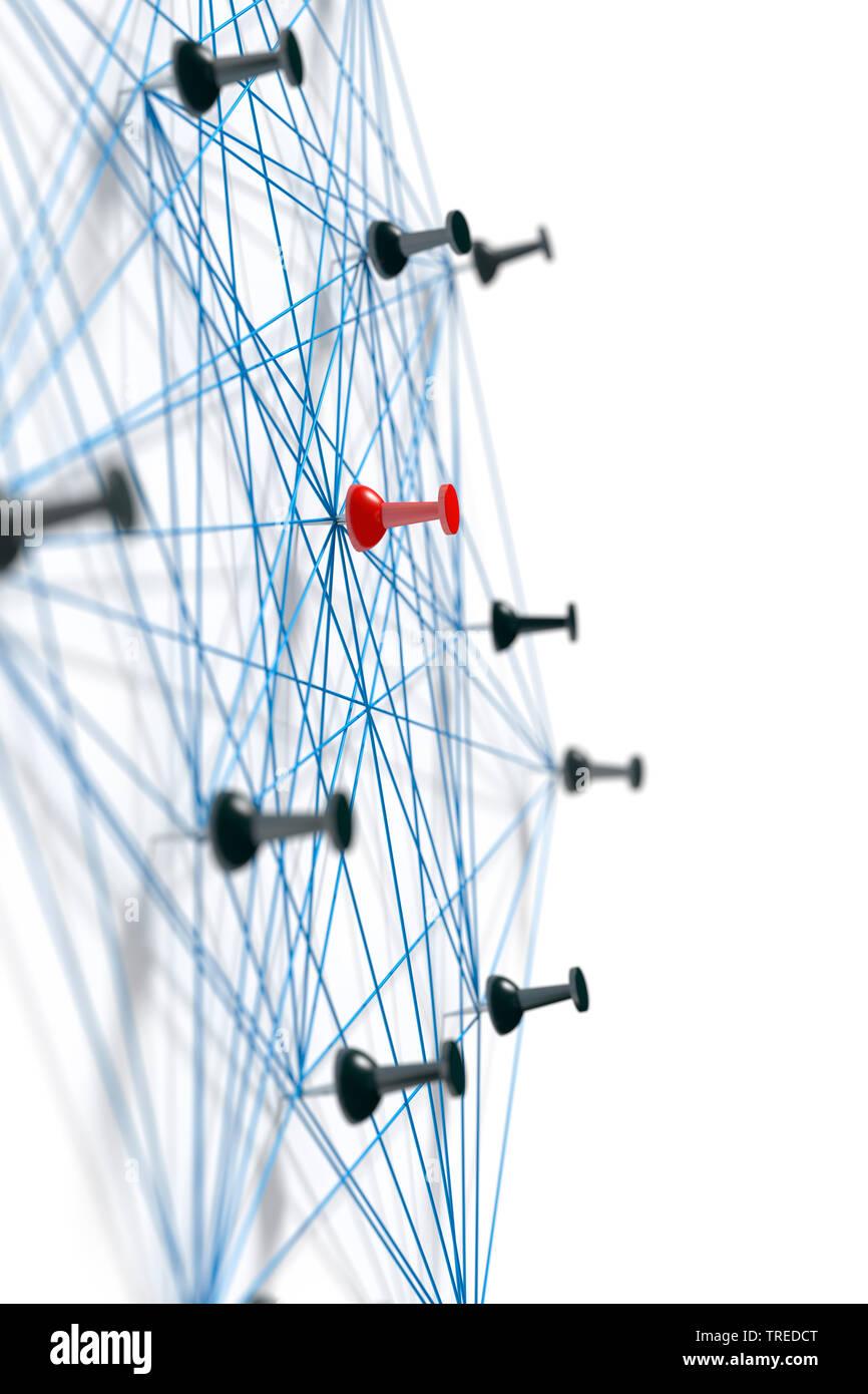 Nadeln mit blauem Faden verbunden, ein Netzwerk symbolisierend | Pins connected with blue twines, symbolizing a network structure  | BLWS523593.jpg [ - Stock Image