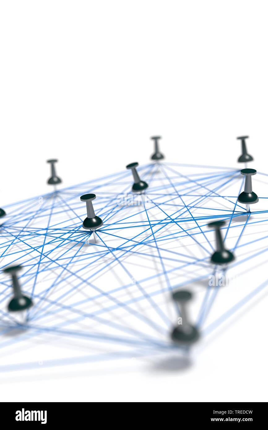 Nadeln mit blauem Faden verbunden, ein Netzwerk symbolisierend   Pins connected with blue twines, symbolizing a network structure    BLWS523592.jpg [ - Stock Image