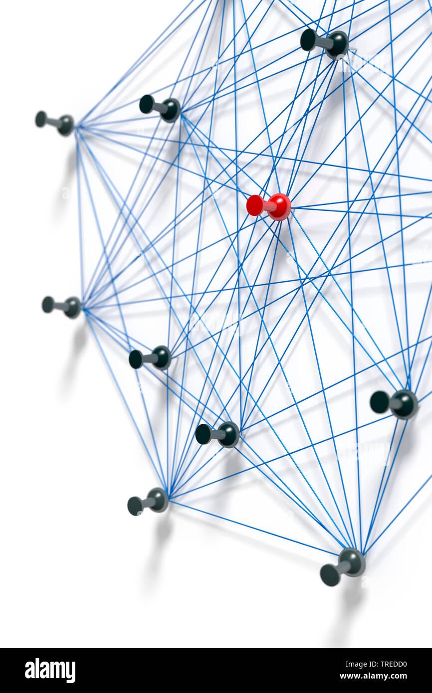 Nadeln mit blauem Faden verbunden, ein Netzwerk symbolisierend   Pins connected with blue twines, symbolizing a network structure    BLWS523594.jpg [ - Stock Image