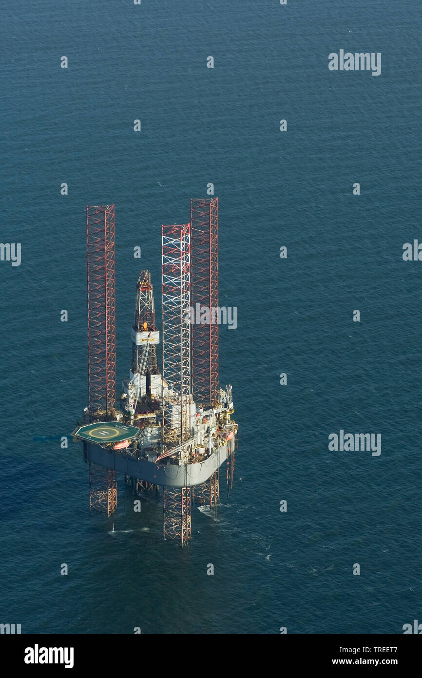 Oil Rig in the wadden sea, Netherlands, Frisia Stock Photo