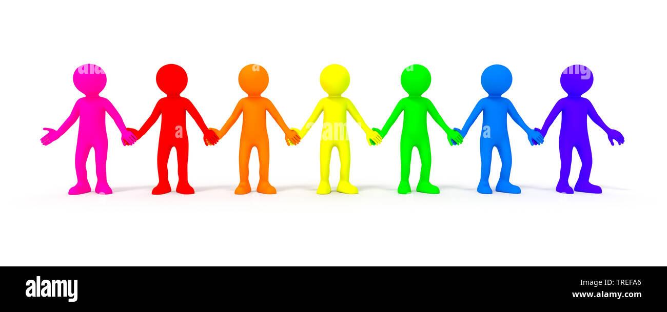 3D-Icon-Maennchen in verschiedenen Farben Vielfalt symbolisierend | 3D icon men in various colors symbolizing diversity | BLWS525168.jpg [ (c) blickwi - Stock Image