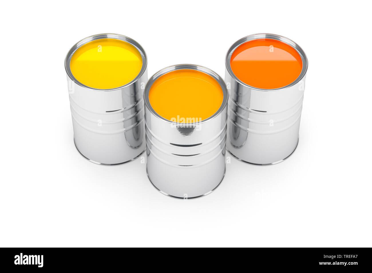Drei Farbeimer mit Farben in Gelb- und Orangetoenen vor weissem Hintergrund | Three paint pots with paint in yellow and orange tones on white surface, - Stock Image